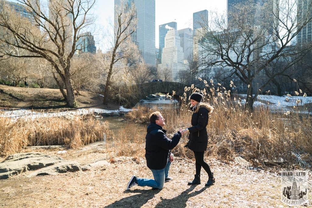 Photo Surprise Proposal by Gapstow Bridge, Central Park | VladLeto