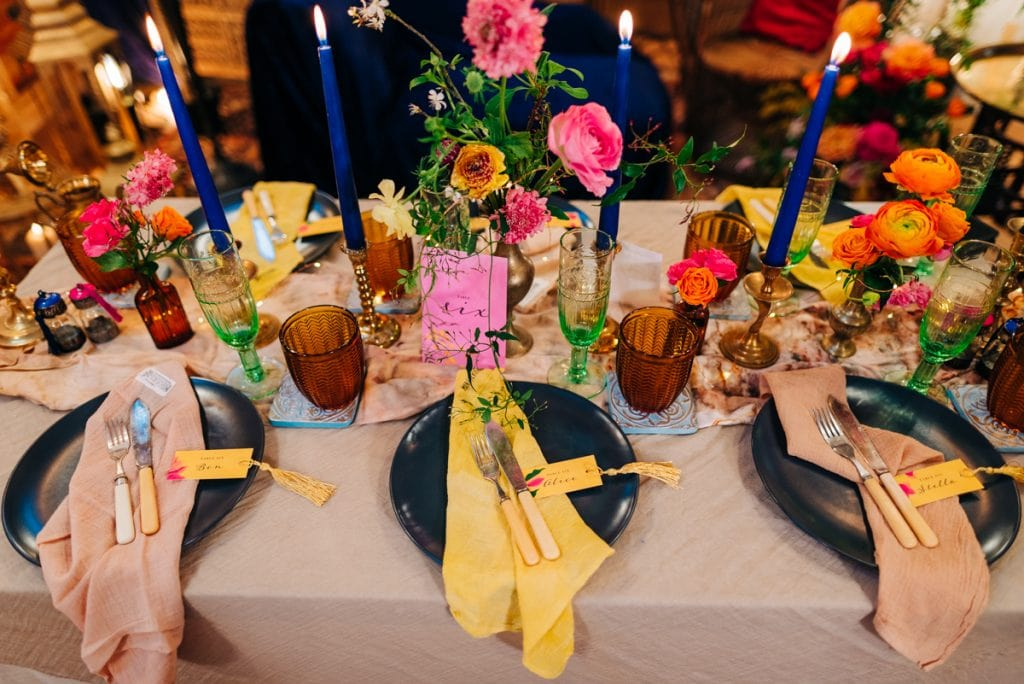 colourful wedding tables scape