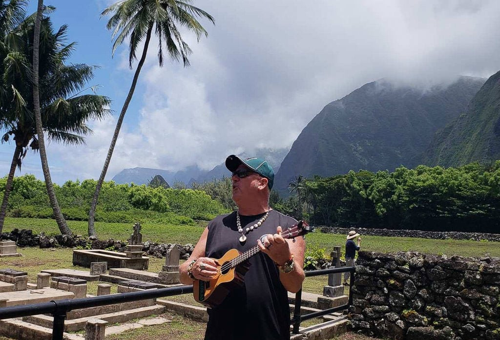 music by tour guide at Kalaupapa