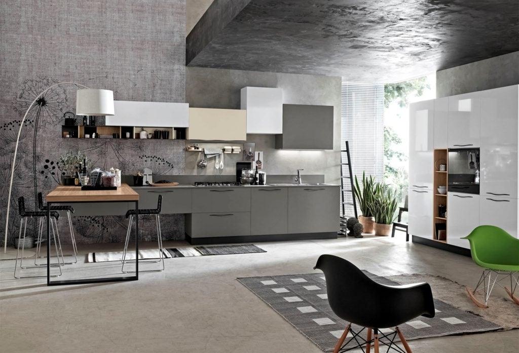 интерьер кухни гостиной хай тек