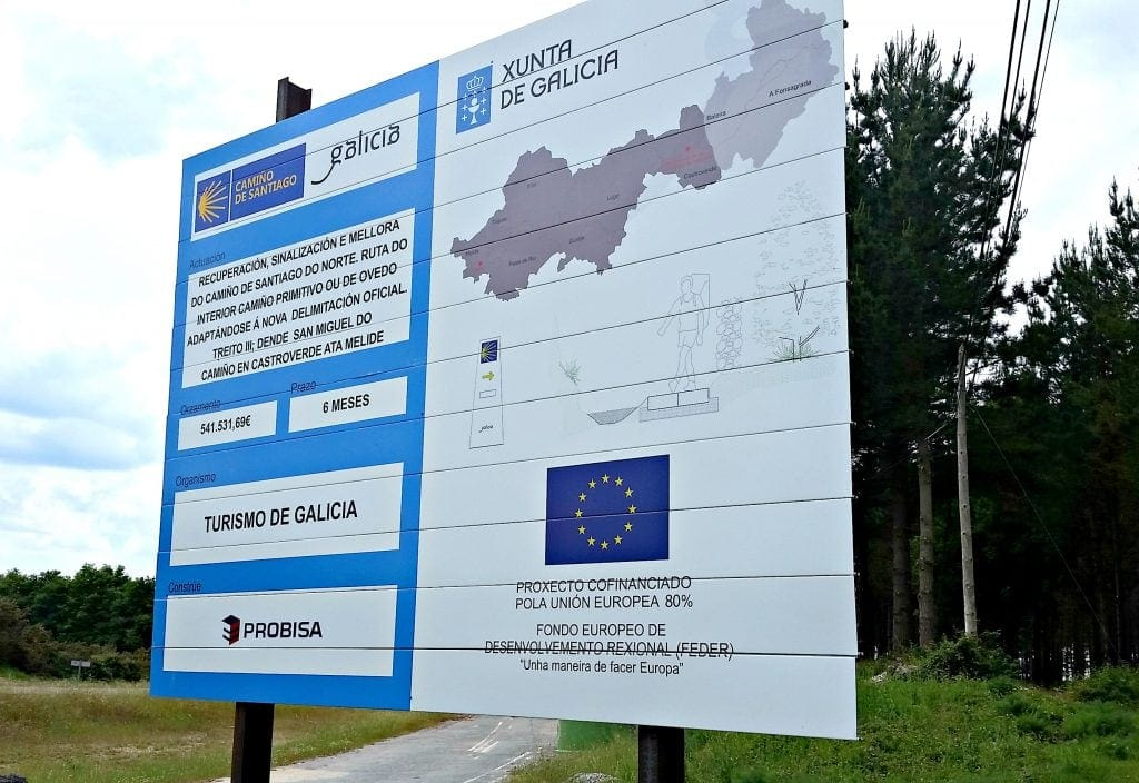 construction sign touting 541,531.69 Euros in expenditures of Camino Primitivo pathways