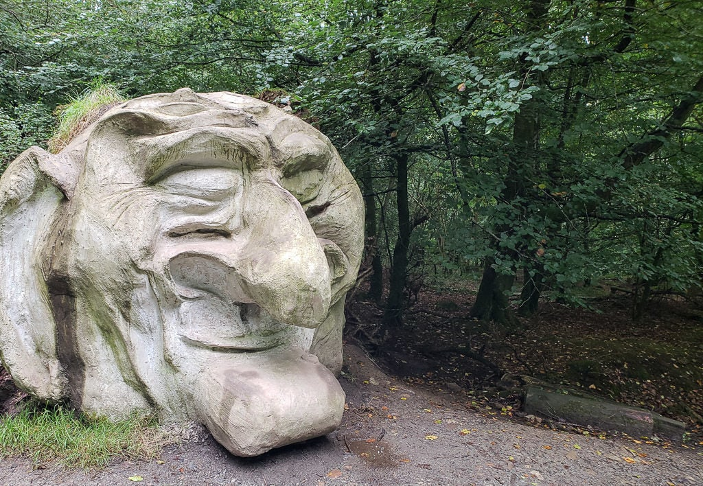Giant troll face sculpture at Giant's Lair Story Trail at Slieve Gullion Forest Park
