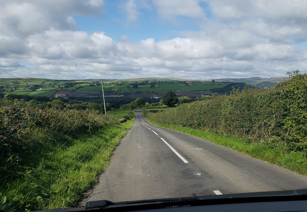 Driving through the narrow roads in the farmlands of Northern Ireland