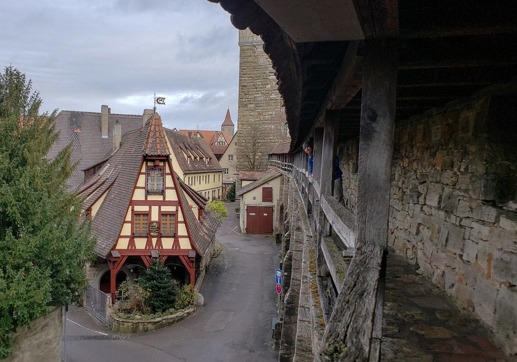 walking the historic medieval wall in rothenburg germany