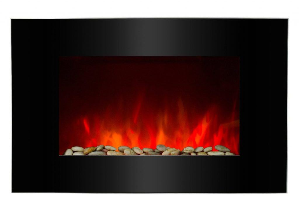 AKDY 36 Wall Mount 2-in-1 Log and Pebble Style Indoor Electric Fireplace Heater