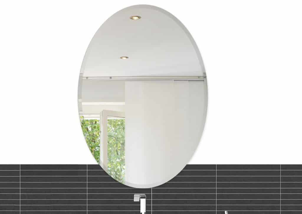 22 x 30 Inch Oval Beveled Polish Frameless Wall Mirror with Hooks