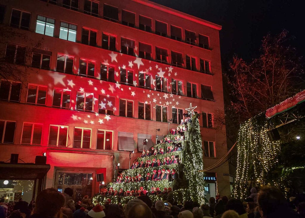 zurich singing christmas tree at christmas market