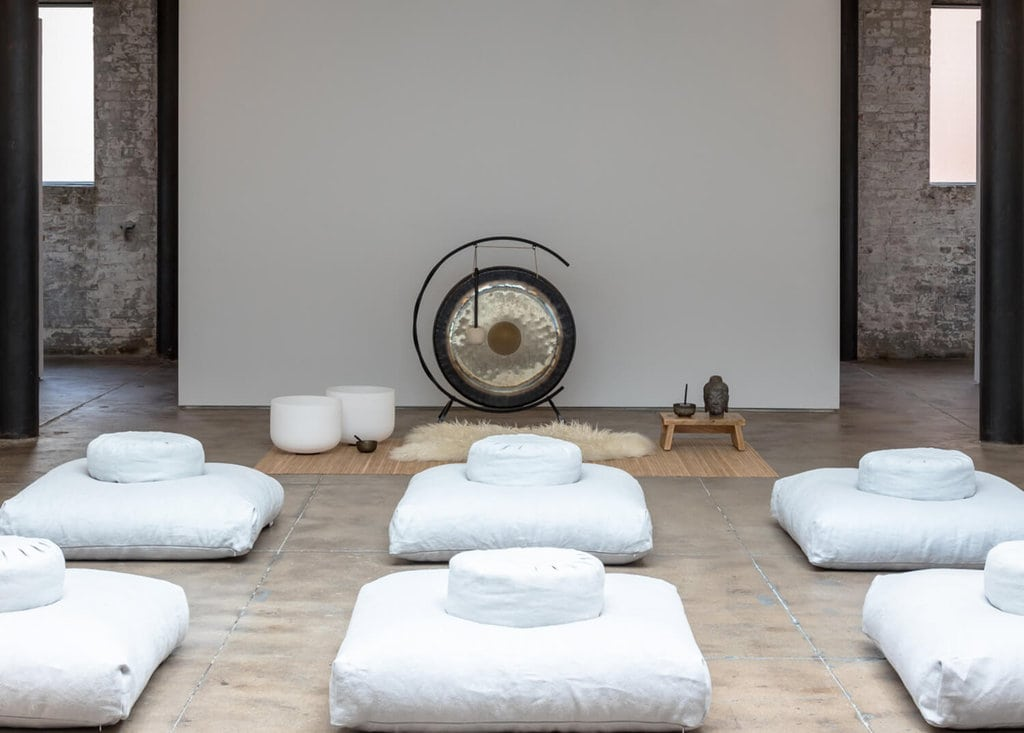 Large event space set up for a group meditation event. Mountainside Recovery Hub in NYC Chelsea.