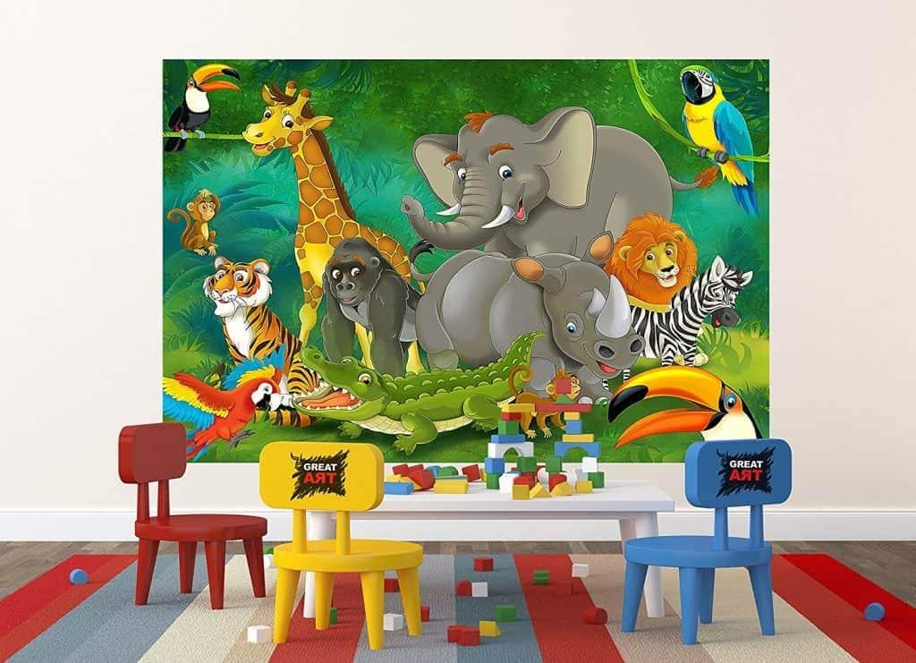 Jungle Animals Photo Wall Paper – Jungle and Animals Mural – Xxl Jungle Wall Decoration Nursery