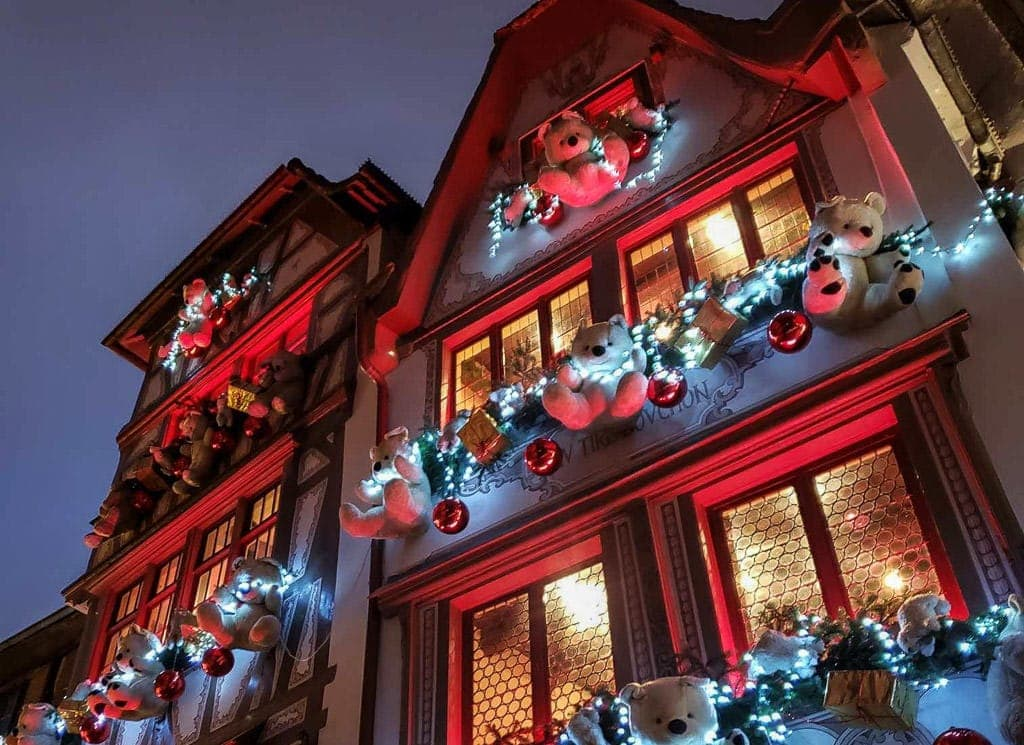 christmas bears outside windows in strasbourg france