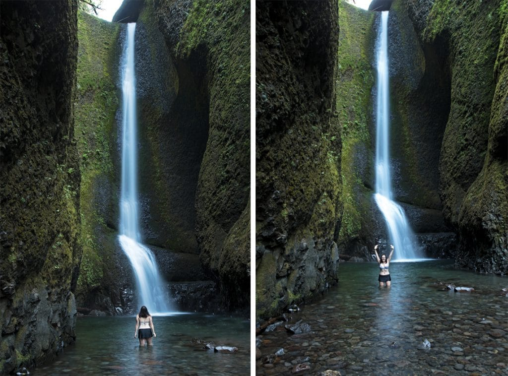 Brooke posing in from of lower oneonta falls in the Columbia River Gorge