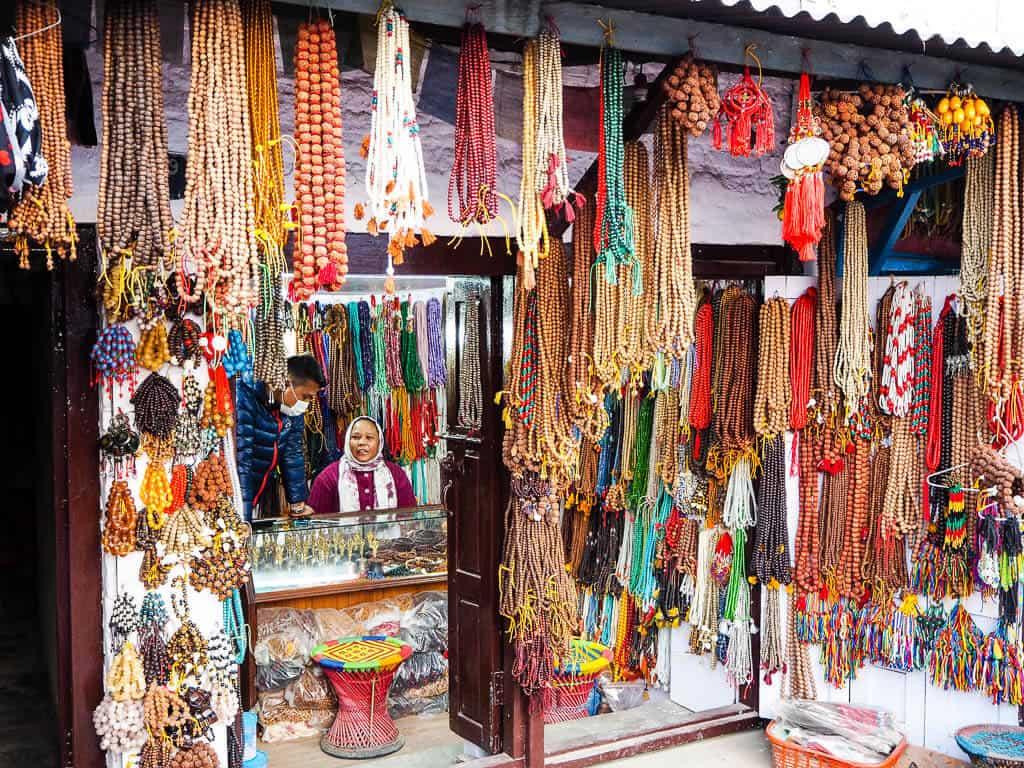 A Tibetan Bead Shop across from Boudha Stupa