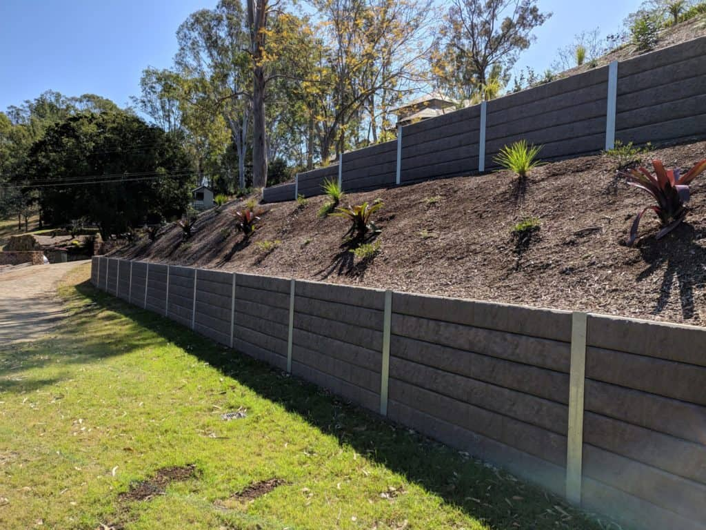 A concrete retaining wall designed by an engineer