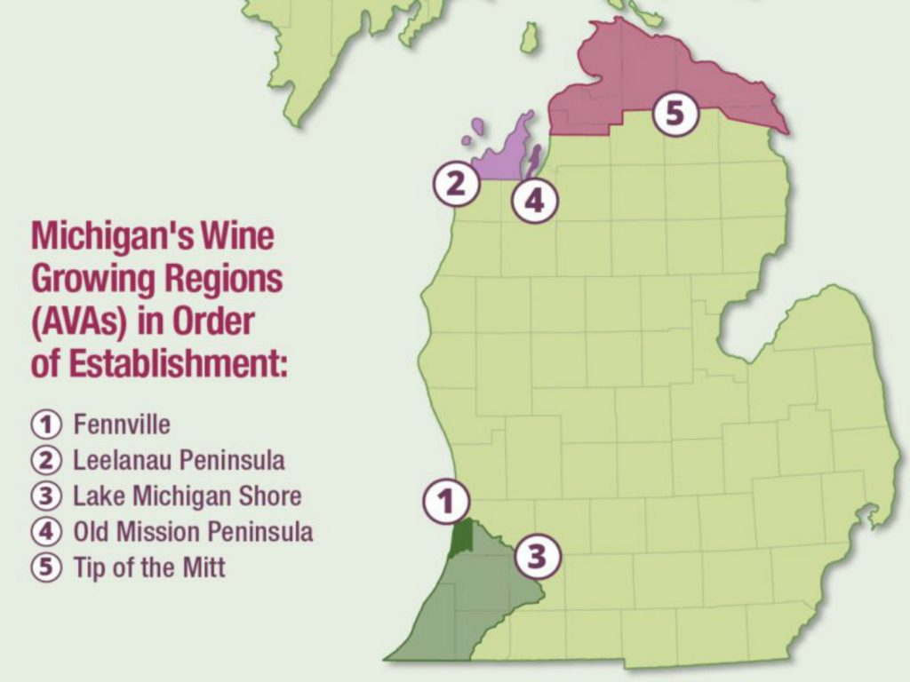 Map of Michigan with 5 shaded sections, all bordering Lake Michigan, depicting the Michigan wine avas