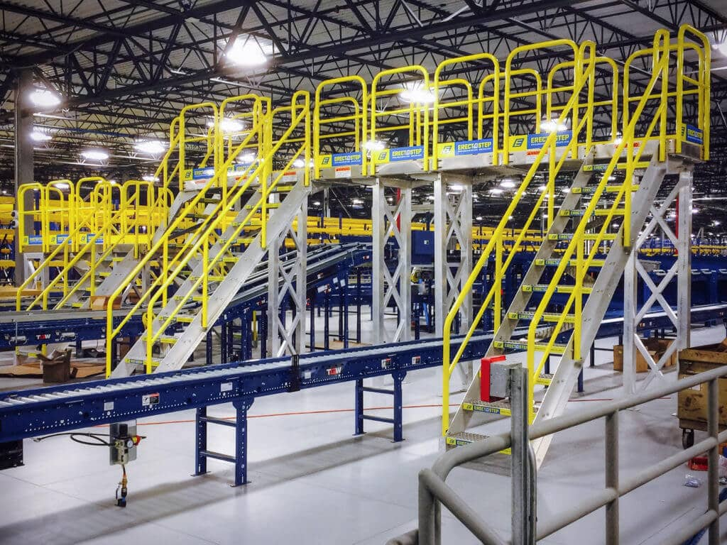 Crossover stairs unit over a production line in a manufacturing plant