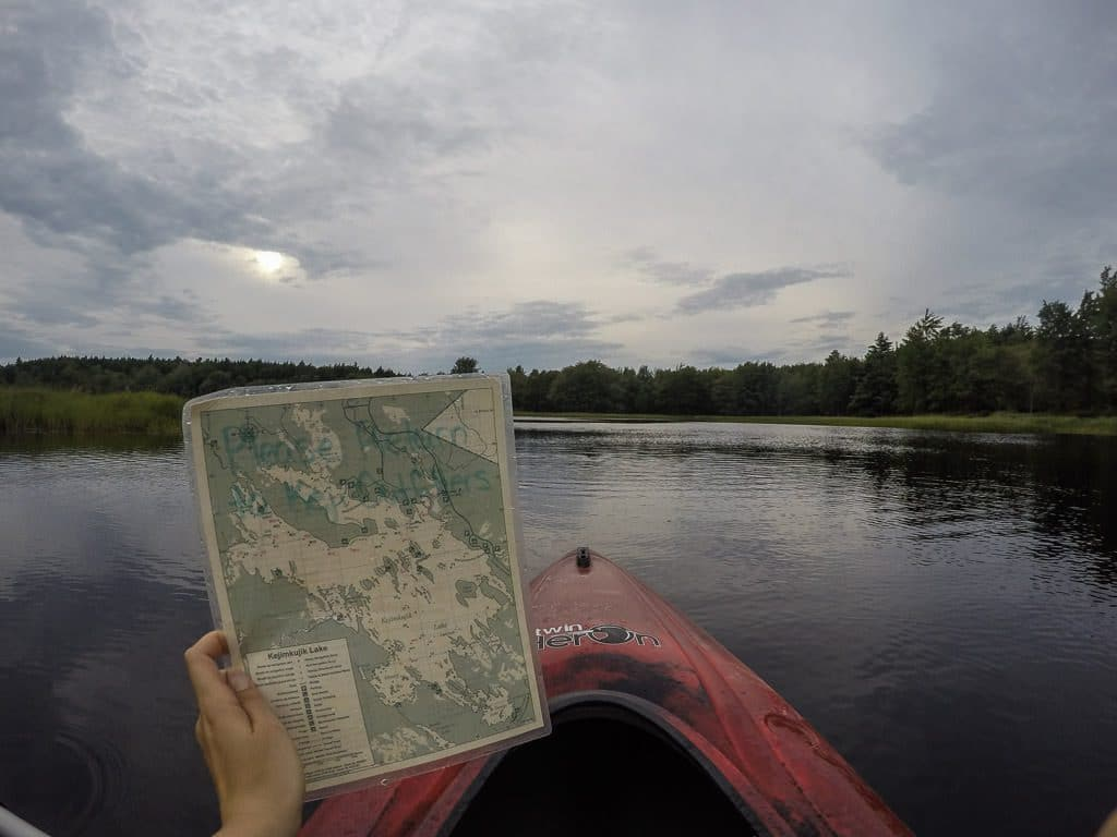 waterproof map of the waters of kejimkujik national park given to us for our kayak rental