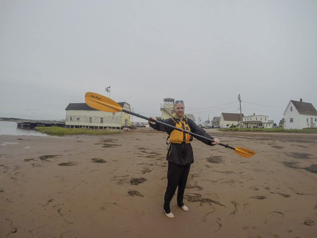 Buddy getting prepared for our kayak adventure with Outside Expeditions in PEI