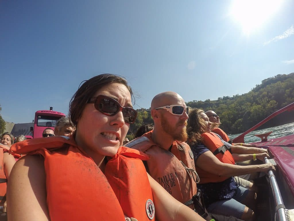 Brooke looking fearful after being explained what will happen during our whirlpool jet boat tour