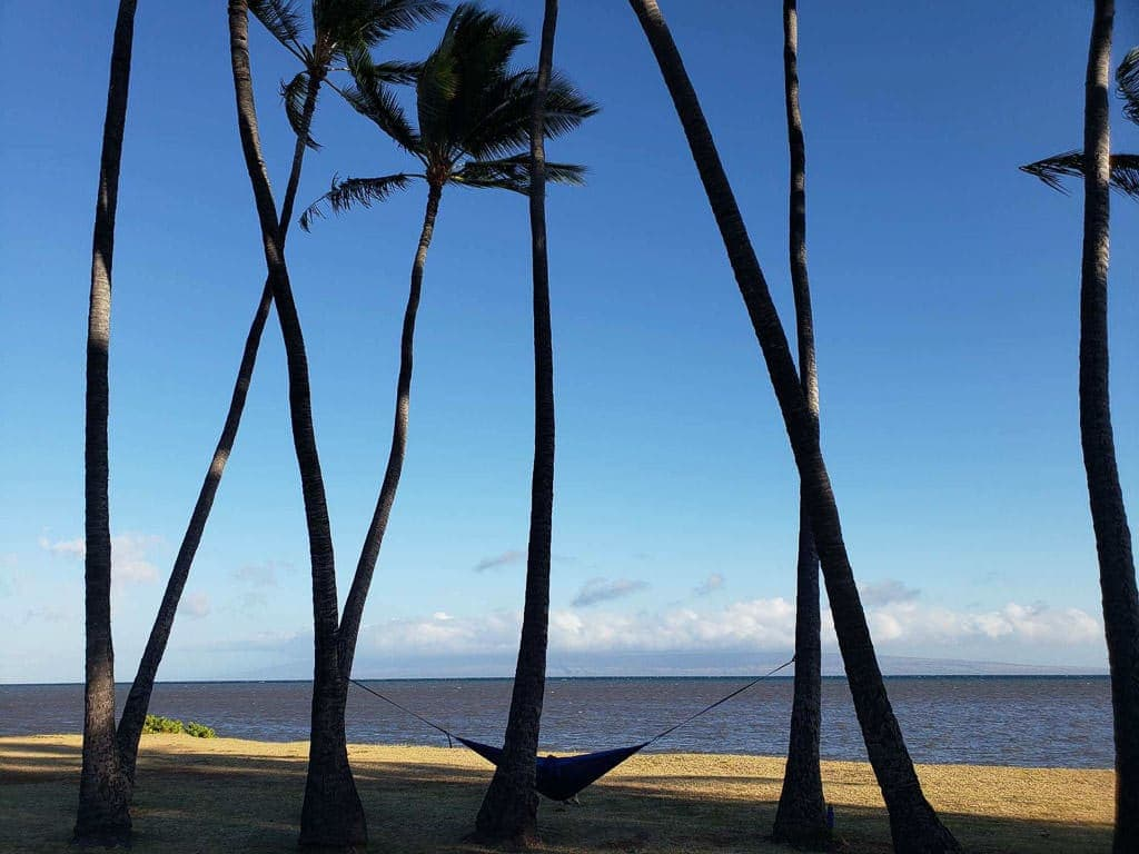 lounging in an ocean side hammock in molokai