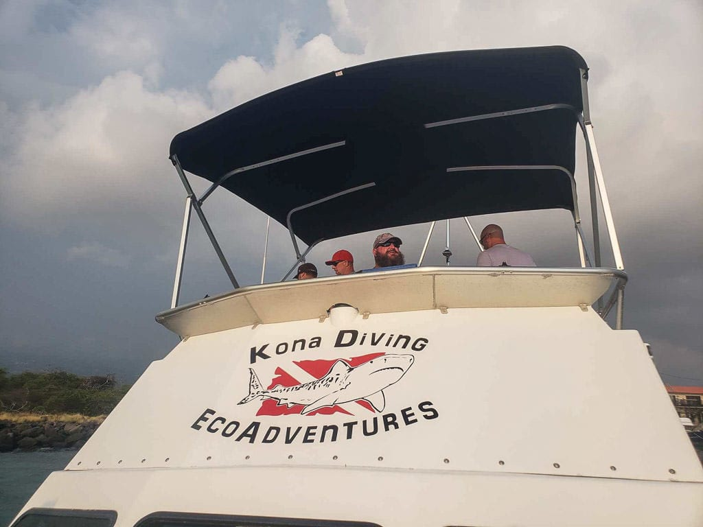 The Manta Ray Dives of Hawaii boat and crew during our Kona Manta Ray experience
