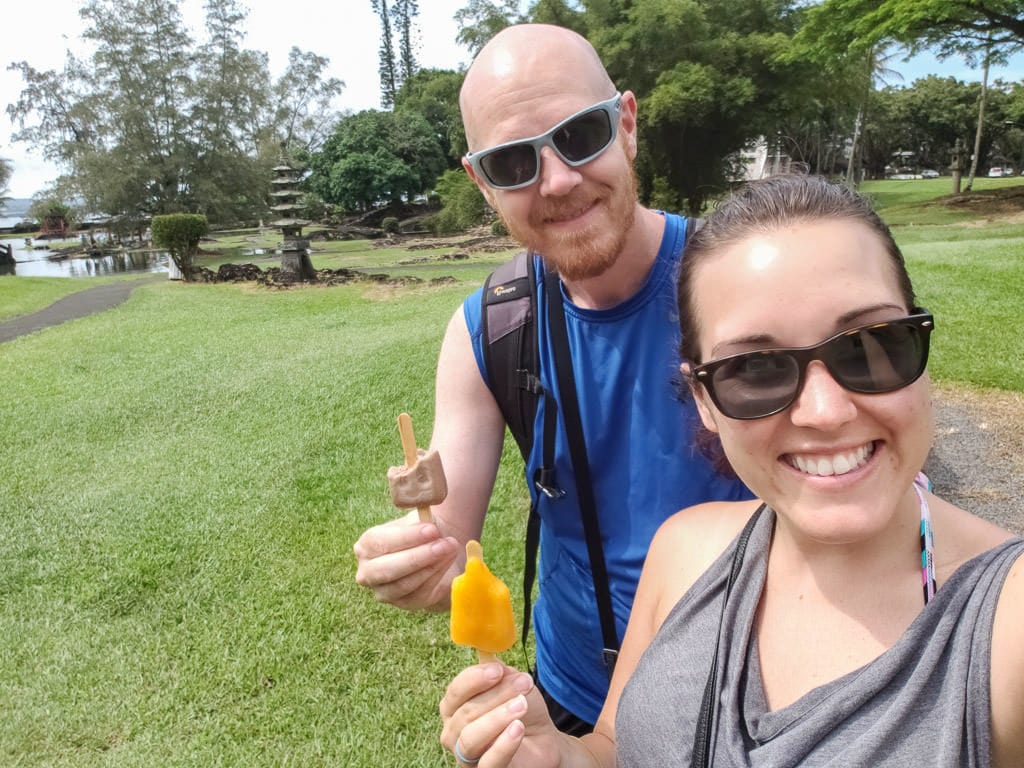 eating popsicles at Liliuokalani Park - things to do in hilo hawaii on the big island