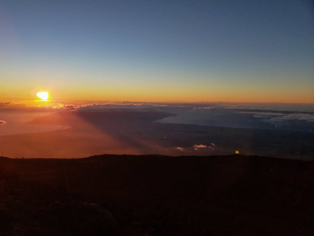 Sunset above the clouds at Haleakalā National Park