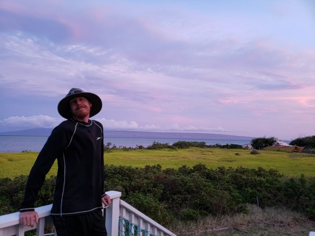 enjoying the sunset while house and pet sitting in Molokai