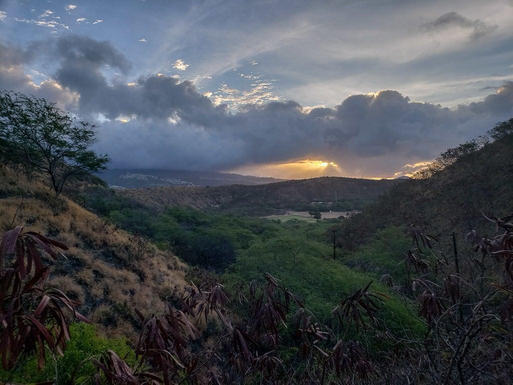 sunrise atop Diamond Head State Monument trail