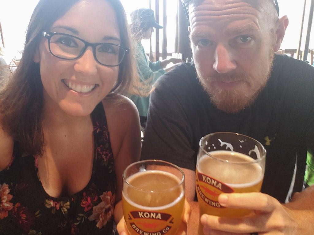 having beers at Kona Brewery in Oahu