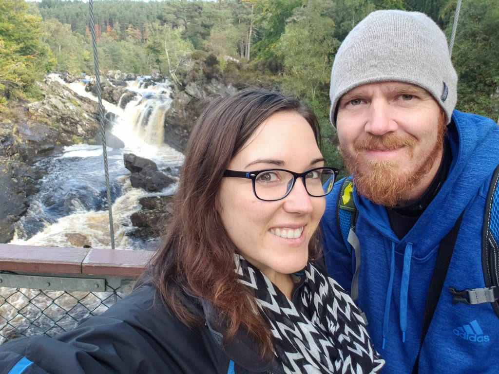 Brooke and Buddy at the bridge that goes over Rogie Falls, one of the waterfalls near Inverness