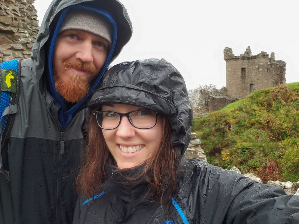 selfie in the rain at Urquhart Castle in inverness