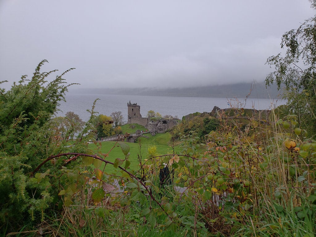 Urquhart Castle in inverness scotland on a gloomy day