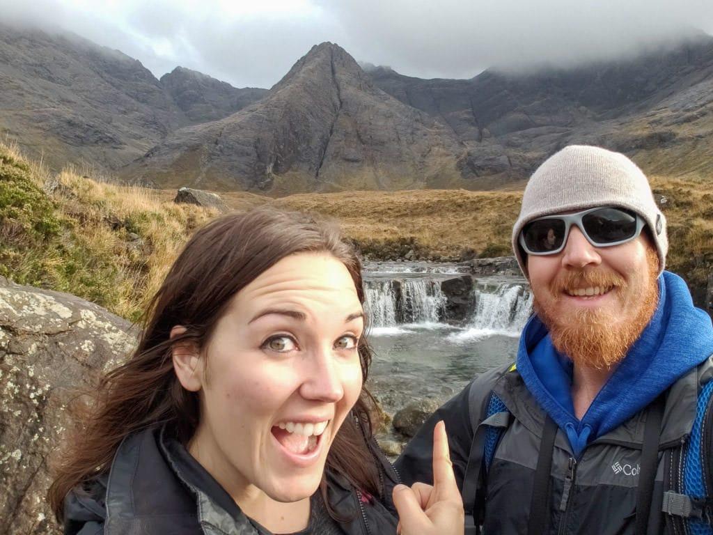 selfie with fairy pools in isle of skye, scotland
