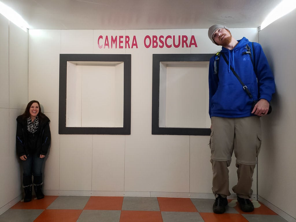 looking misproportioned at camera obscura in Edinburgh Scotland