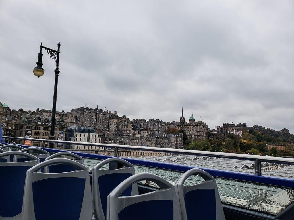 hop on hop off bus views on Edinburgh  tour in Scotland