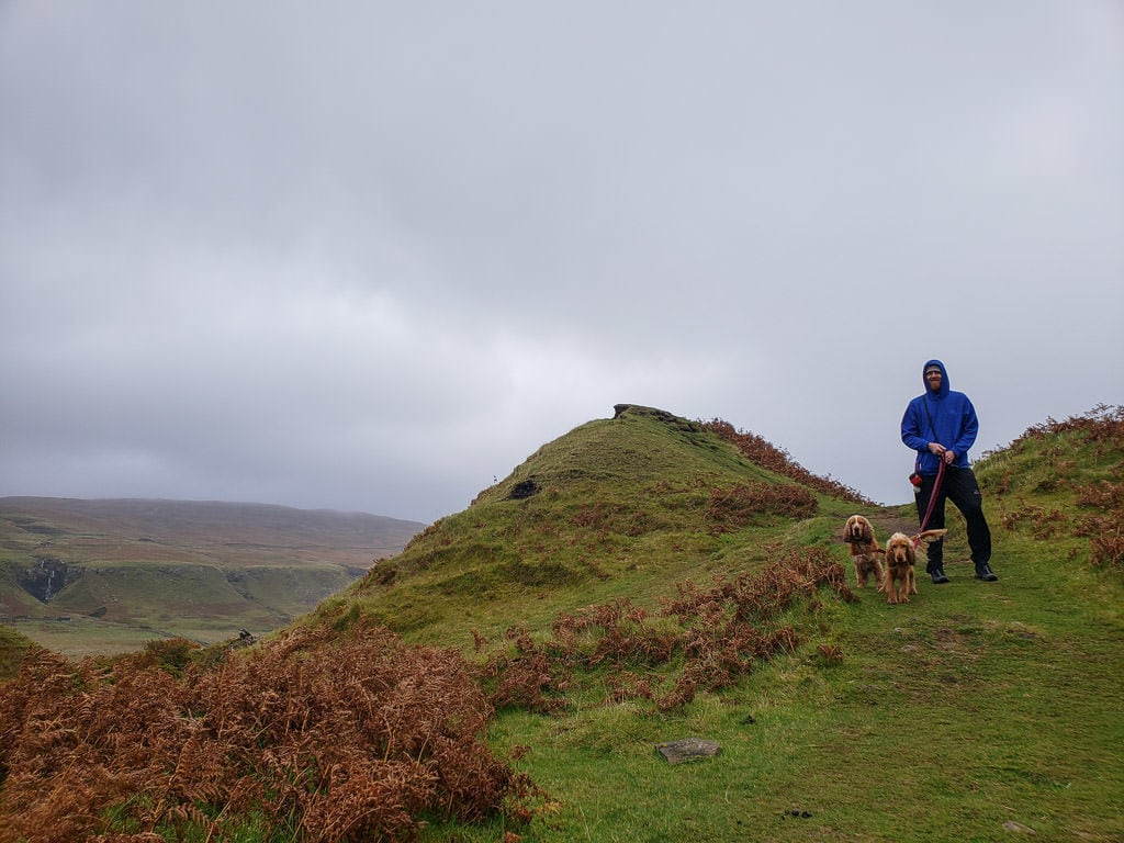 Buddy walking with 2 dogs on the Old Man of Storr walk in the Isle of Skye