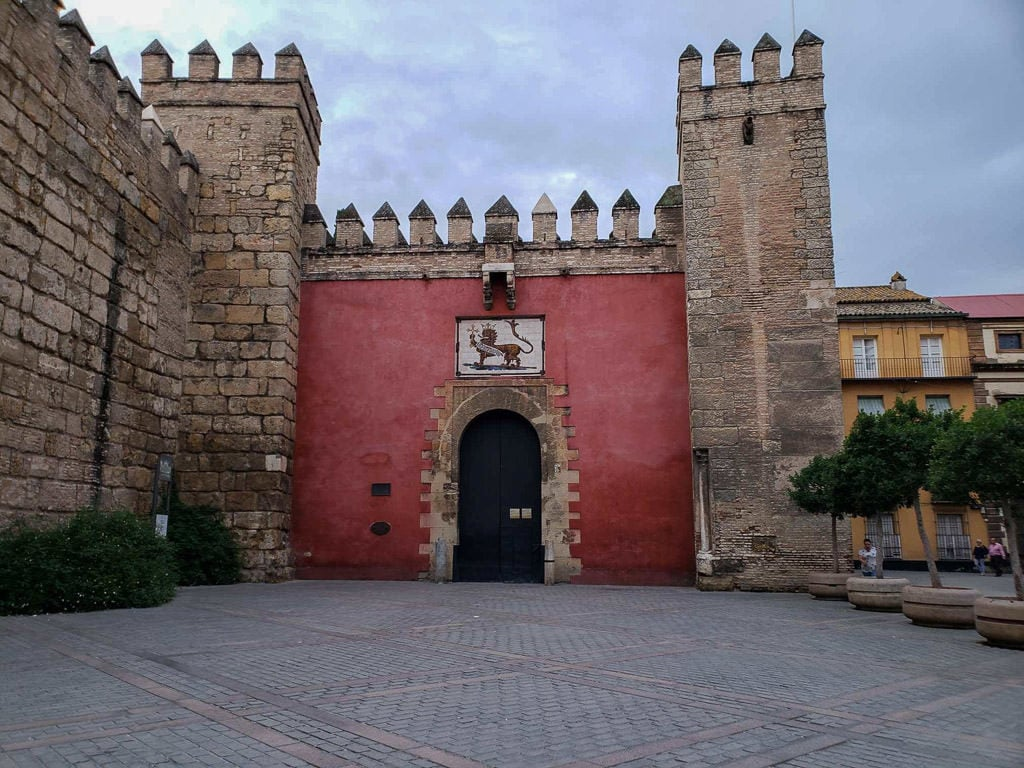 outside entry to the real alcazar in seville spain