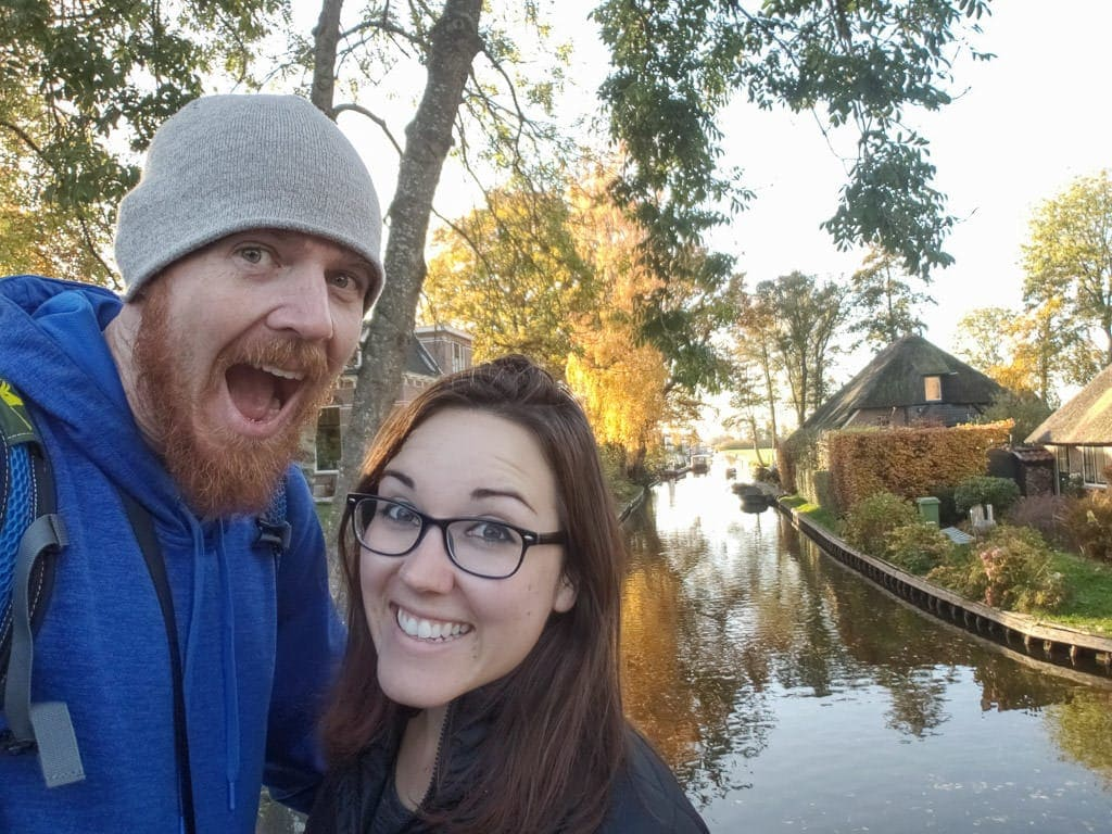 selfie with canals in giethoorne day trip from amsterdam to holland's countryside
