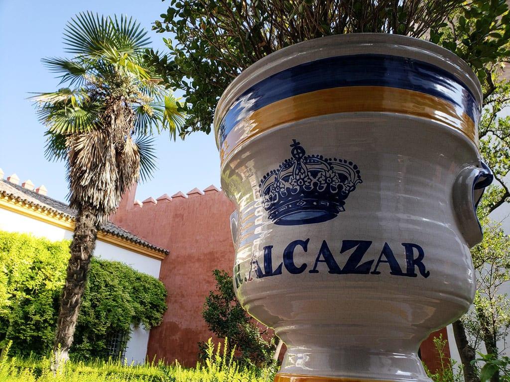 planter at the real alcazar in sevilla spain
