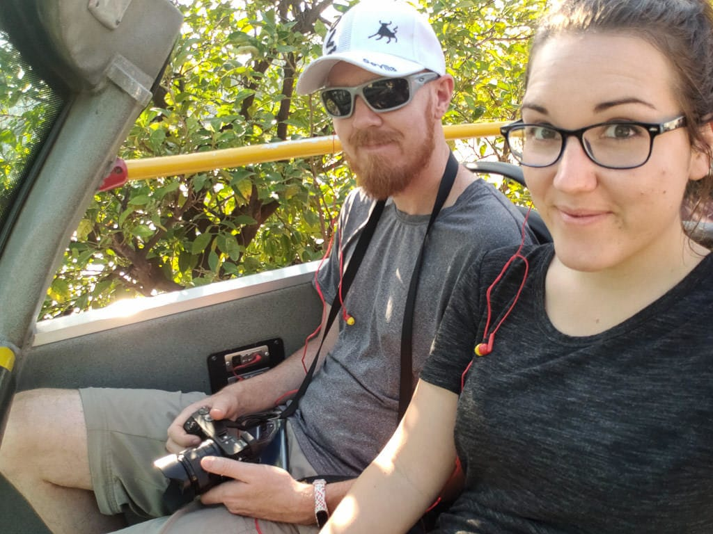 Brooke and Buddy on the open-air Sightseeing Bus in Seville