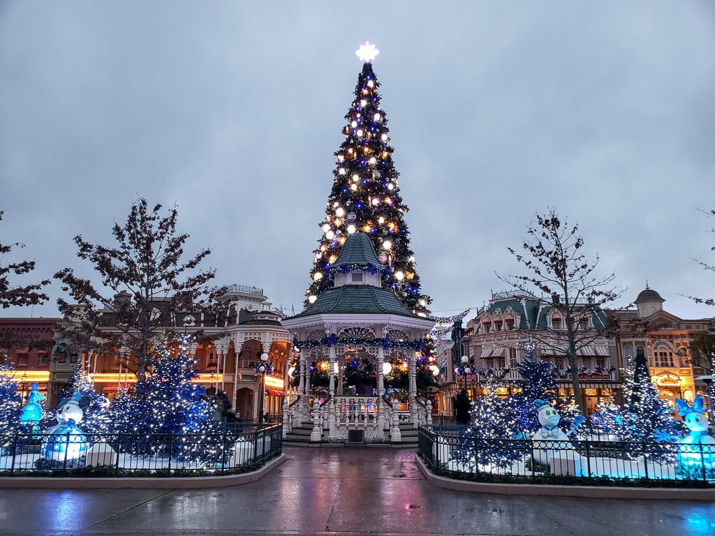 entry to Disneyland Paris near france decorated for christmas
