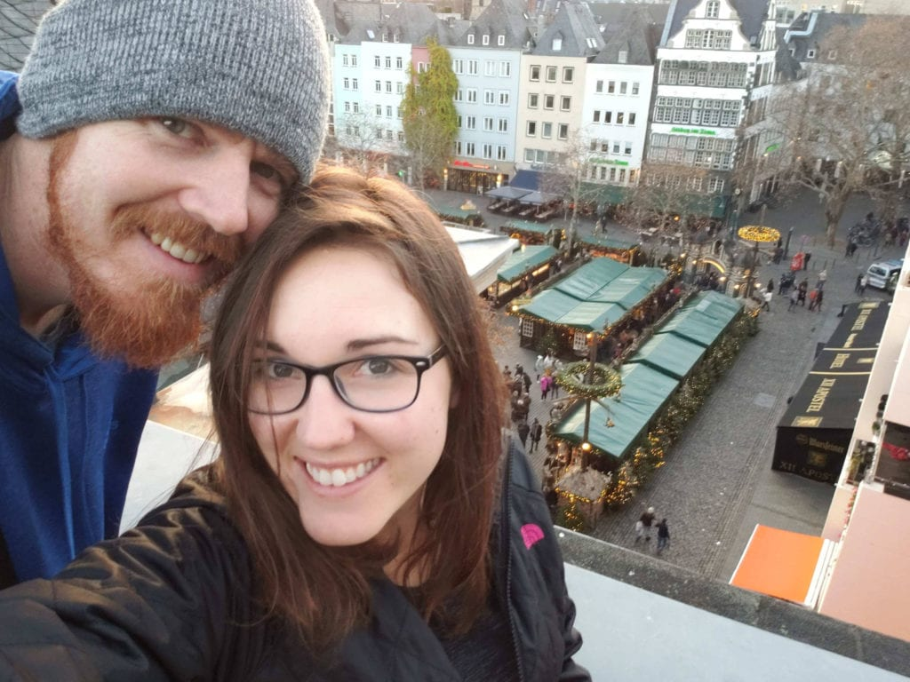 rooftop view of cologne christmas market in germany