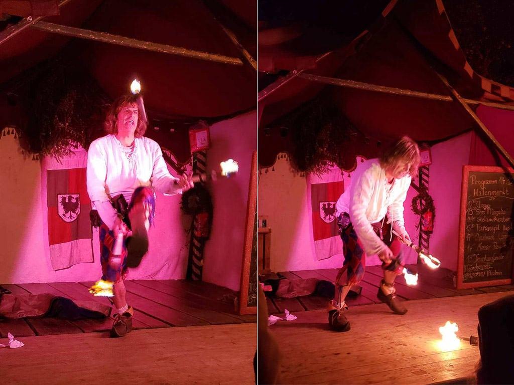 fire juggling esslingen medieval christmas market in germany
