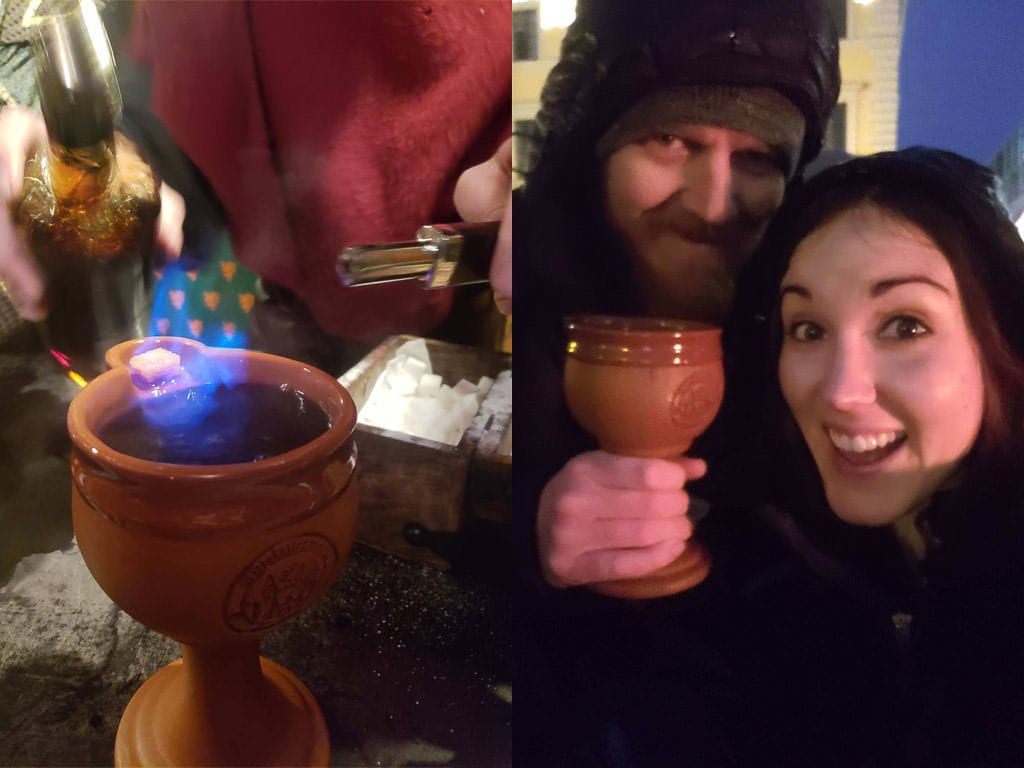 drinking a Feuerzangenbowle at the medieval christmas market in munich germany