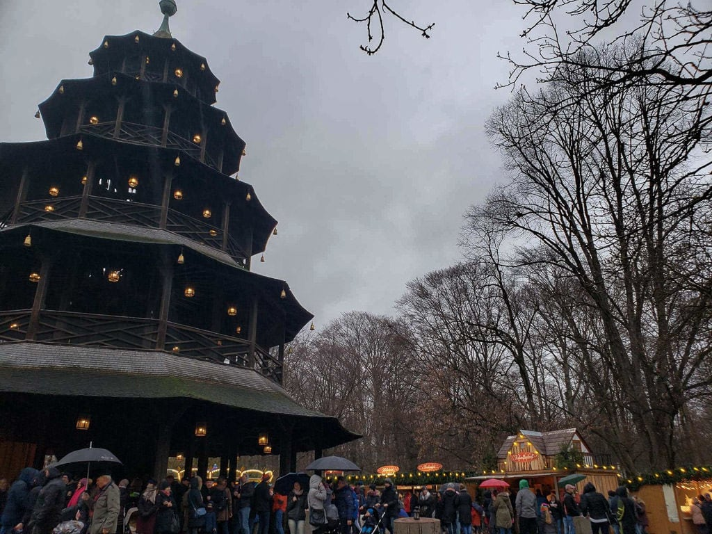 chinese tower christmas market in munich germany
