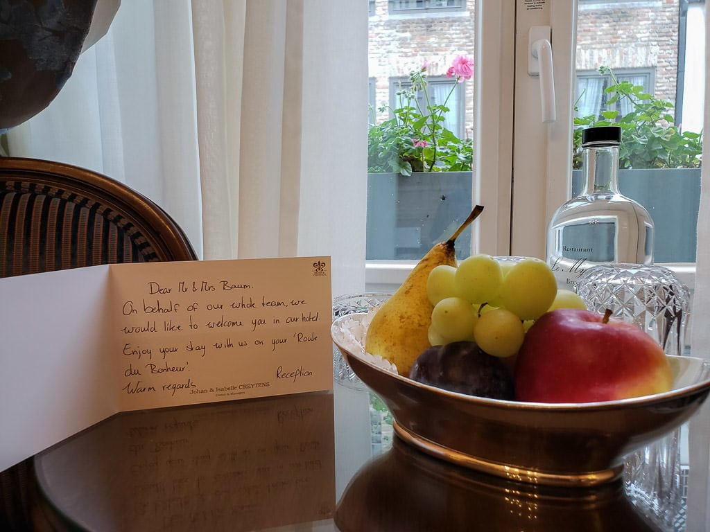 welcome note at Hotel Heritage – Relais & Chateaux during two days in bruges, belgium