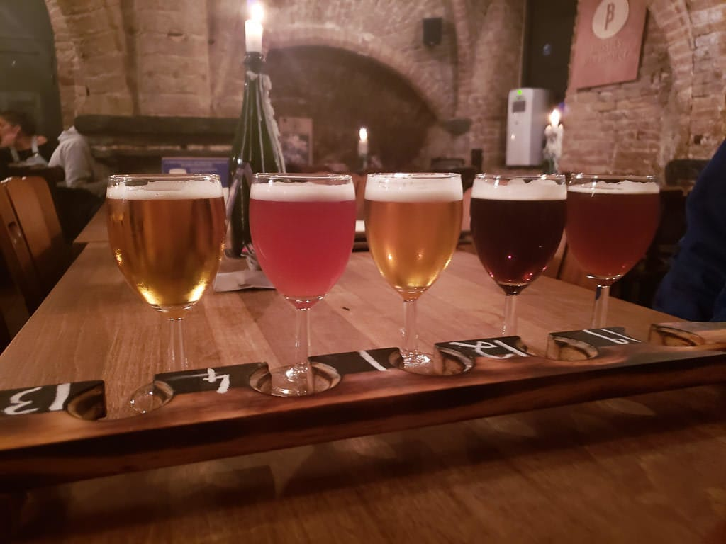 beer tasting tray at le trappiste in bruges belgium