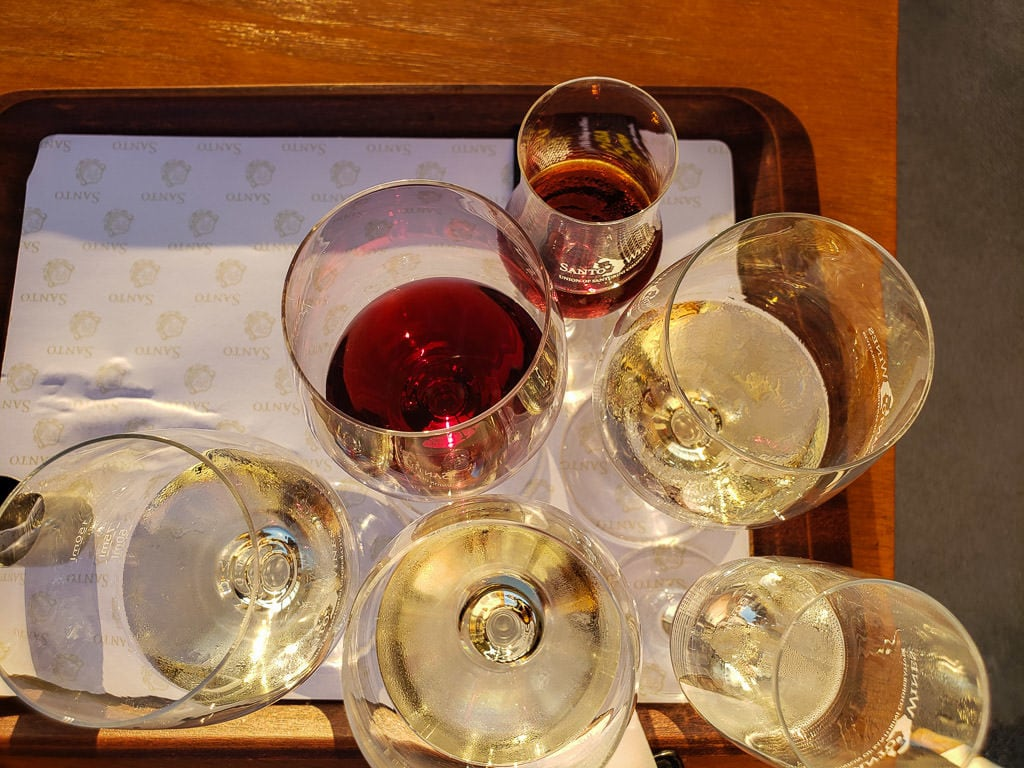 santo winery santorini sunset
