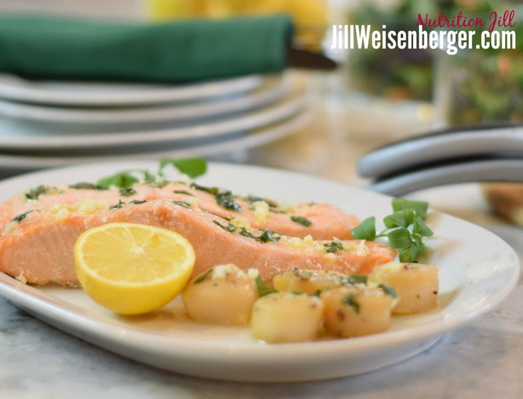 There are lots of healthy fats in salmon. Try my easy lemon basil sauce.