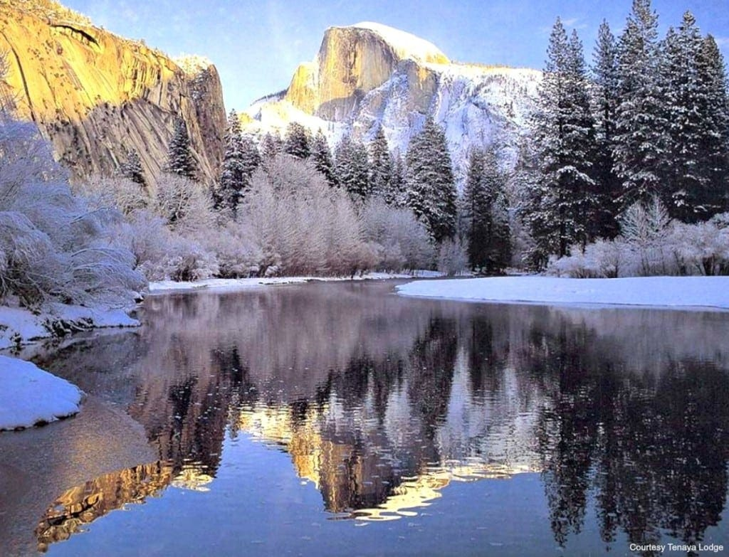 Merced River with Half Dome snow feature